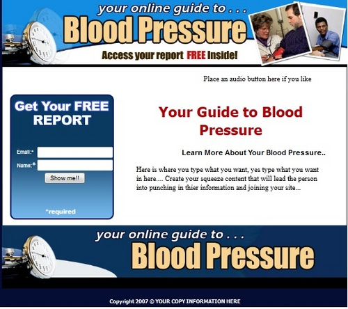 Product picture Blood Pressure Squeeze Page Template